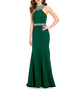 Ellie Wilde Mock Neck Beaded Back Trumpet Dress