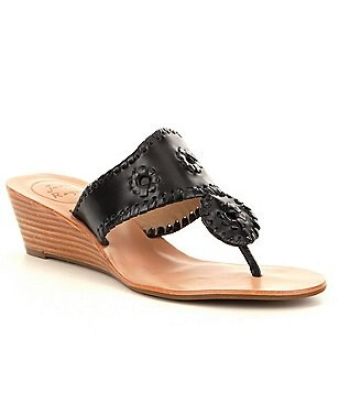 Jack Rogers Jacks Leather Whip Lace Slip-On Wedge Sandals