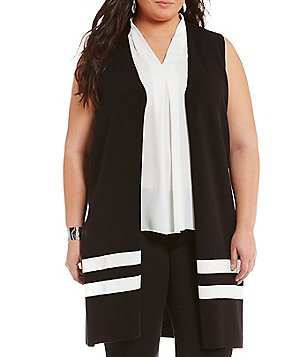 Vince Camuto Plus Sleevless Milano Stripe Open Front Cardigan