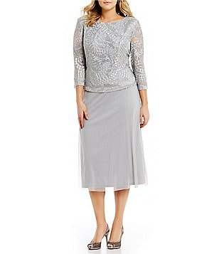 Alex Evenings Plus Embroidered-Bodice Chiffon Dress