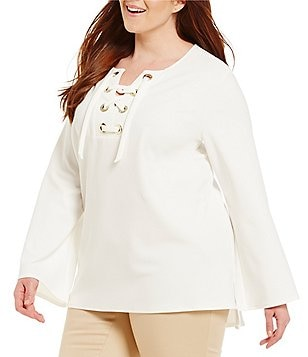 Vince Camuto Plus Bell Sleeve Lace Up Ponte Blouse