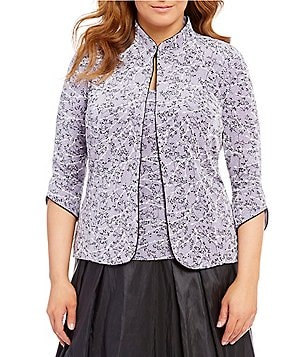 Alex Evenings Plus Printed Mandarin-Neck Twinset