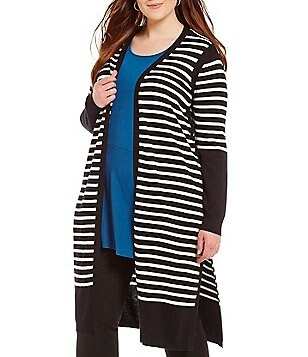 Vince Camuto Plus Long Sleeve Stripe Maxi Cardigan