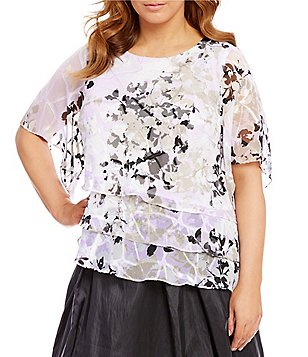 Alex Evenings Plus Printed Tiered Chiffon Blouse