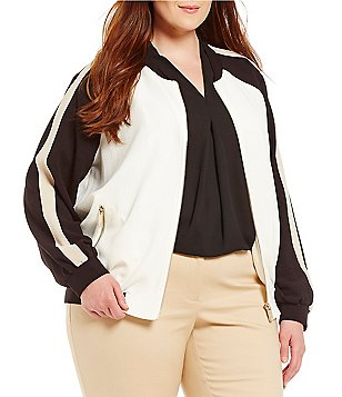 Vince Camuto Plus Colorblocked Bomber Jacket