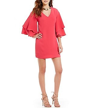 Laundry by Shelli Segal Ruffled Bell Sleeve Crepe Dress