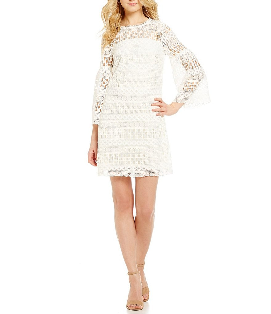 Laundry by Shelli Segal Bell-Sleeve Illusion Lace Shift Dress