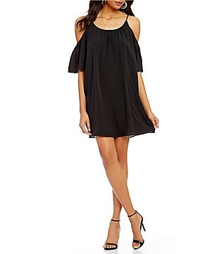French Connection Cold-Shoulder Short Sleeve Scoop Neck Solid Polly Plains Dress