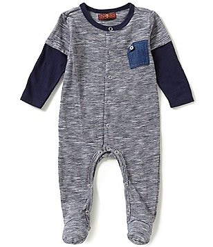 7 For All Mankind Baby Boys Newborn-9 Months Mock-Sleeve Mini-Stripe Footed Coverall