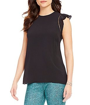 MICHAEL Michael Kors Flounce Sleeve Textured Solid Crepe Top