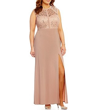 Morgan & Co. Plus Embellished Sequin Lace Cap-Sleeve Long Dress