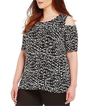 Vince Camuto Plus 3/4 Sleeve Mosaic Glimpes Cold Shoulder Top