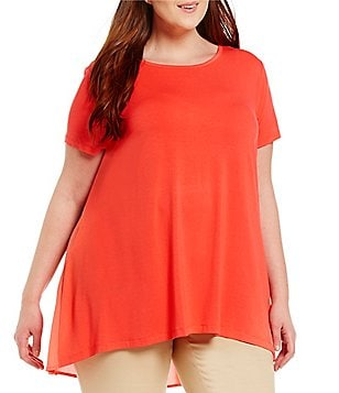 Vince Camuto Plus Short Sleeve High-Low Hem Mix Media Top