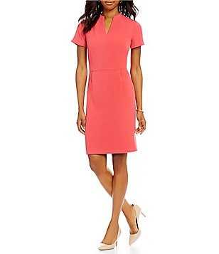Preston & York Carissa Stretch Crepe V-Neck Short Sleeve Suiting Sheath Dress
