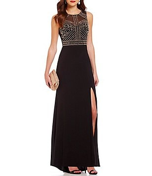 Morgan & Co. Beaded Bodice Illusion Back High-Low Long Dress