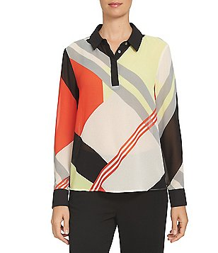 CeCe Point Collar Long Sleeve Deco Graphic Contrast Placket Blouse