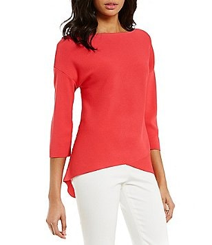 Preston & York Carla Round Neck 3/4 Sleeve Solid Knit Blouse