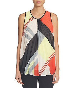 CeCe Round Neck Sleeveless Deco Graphic Pleated Blouse