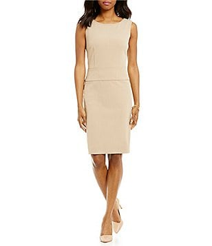 Preston & York Adele Stretch Crepe Sleeveless Suiting Sheath Dress