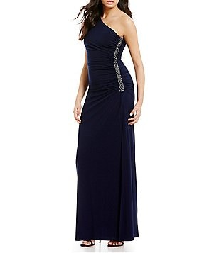 Laundry by Shelli Segal One-Shoulder Sleeveless Beaded Gown