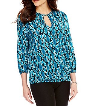 MICHAEL Michael Kors Snakeskin Print Knit Jersey Keyhole Neck Peasant Top