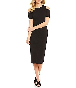 MICHAEL Michael Kors Cold Shoulder Fine Gauge Knit Sheath Dress
