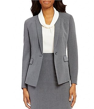Alex Marie Milo Bi-Stretch Notch Collar Long Sleeve One-Button Jacket