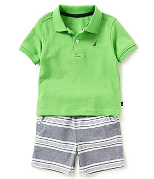 Nautica Baby Boys Newborn-24 Months Solid Polo Shirt & Printed Shorts Set