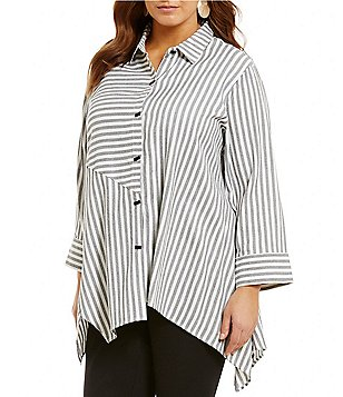 Ali Miles Plus Point Collar Roll-Tab Sleeve Button Front Striped Tunic