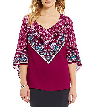 Alex Marie Jill V-Neck 3/4 Sleeve Printed Blouse