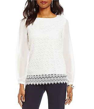Alex Marie Tessa Round Neck Lace Long Sleeve Blouse