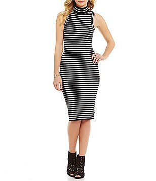 MICHAEL Michael Kors Mock Neck Stripe Rib Knit Dress