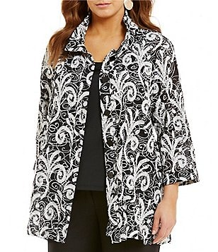 Ali Miles Plus Wired Collar Printed Burnout Jacket