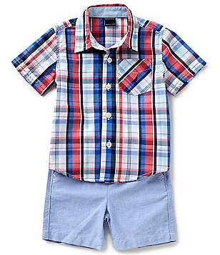 Nautica Baby Boys 12-24 Months Plaid Woven Shirt & Solid Shorts Set