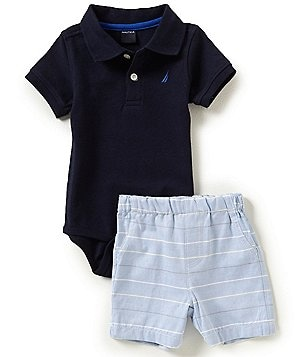 Nautica Baby Boys 12-24 Months Solid Short-Sleeve Bodysuit & Striped Short Set