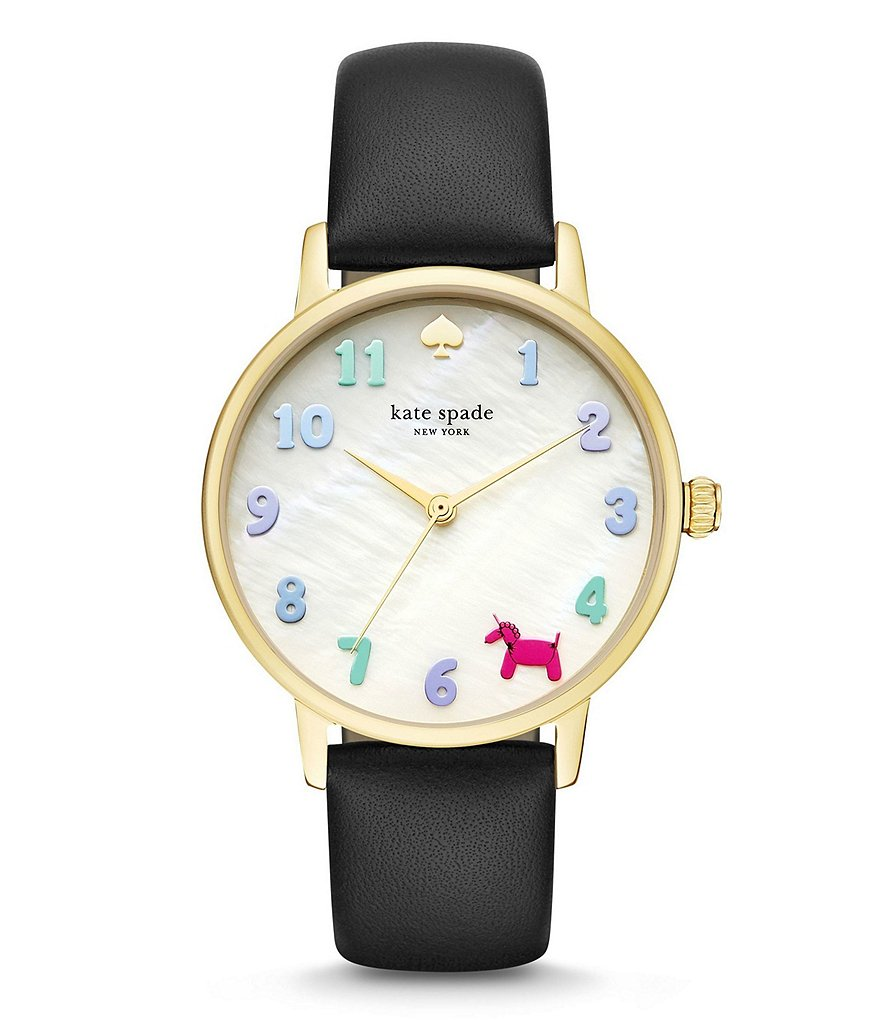 kate spade new york Metro Analog Leather-Strap Watch