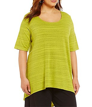 Bryn Walker Plus Lilo Round Neck Short Sleeve French Terry Tunic