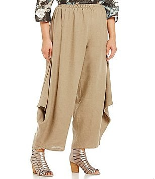 Bryn Walker Plus Hamish Flat Front Pull-On Linen Pants