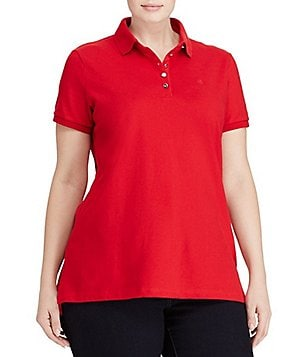 Lauren Ralph Lauren Plus Monogram Short Sleeve Polo Shirt