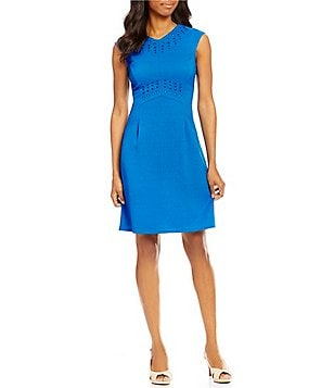Alex Marie Becky Notch Collar Sleeveless Basketweave Stretch Embroidered Dress