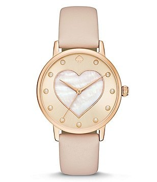 kate spade new york Metro Heart Analog Leather-Strap Watch
