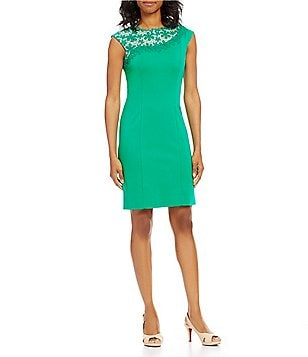 Alex Marie Karli Ponte Embroidered Neck Cap Sleeve Sheath Dress