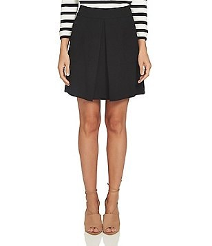 CeCe Moss Crepe Invert Pleated Skirt