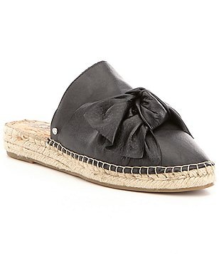 Sam Edelman Lynda Leather Bow Detail Slip On Open Back Espadrilles