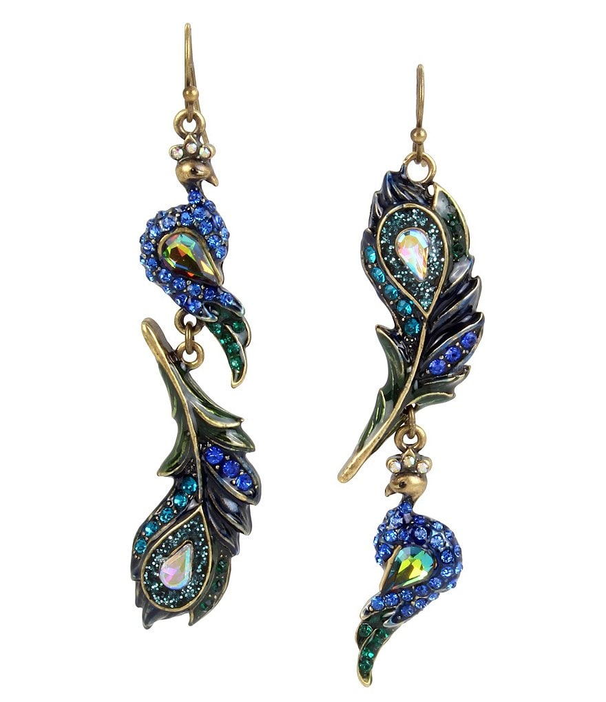 Betsey Johnson Peacock Mismatched Drop Earrings