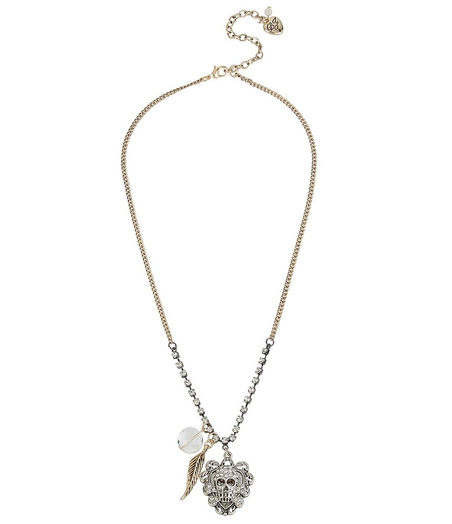 Betsey Johnson Pavé Skull Pendant Necklace