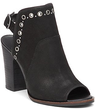 Lucky Brand Lorillar Leather Studded Sling-Back Peep-Toe Booties