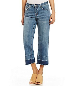 Tru Luxe Jeans Released Hem Wide Leg Crop Jeans