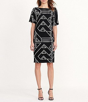 Lauren Ralph Lauren Petite Short Sleeve Geometric Print Jersey Shift Dress
