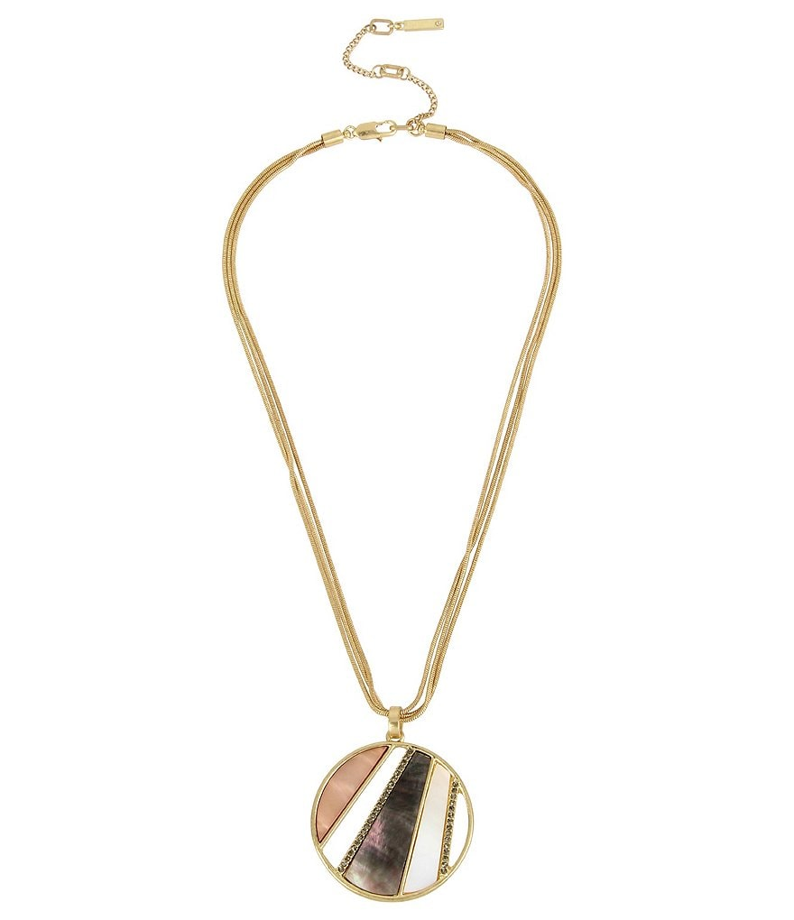 Kenneth Cole New York Pavé Shell Geometric Disc Pendant Necklace